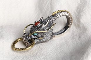 Sterling Silver Dragon head Key chain